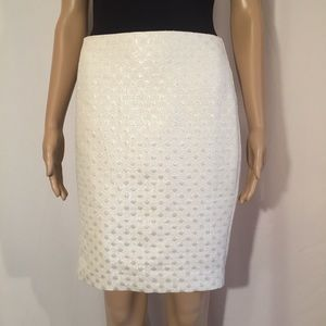 Ann Taylor Pencil Skirt Sparkling Silver and White